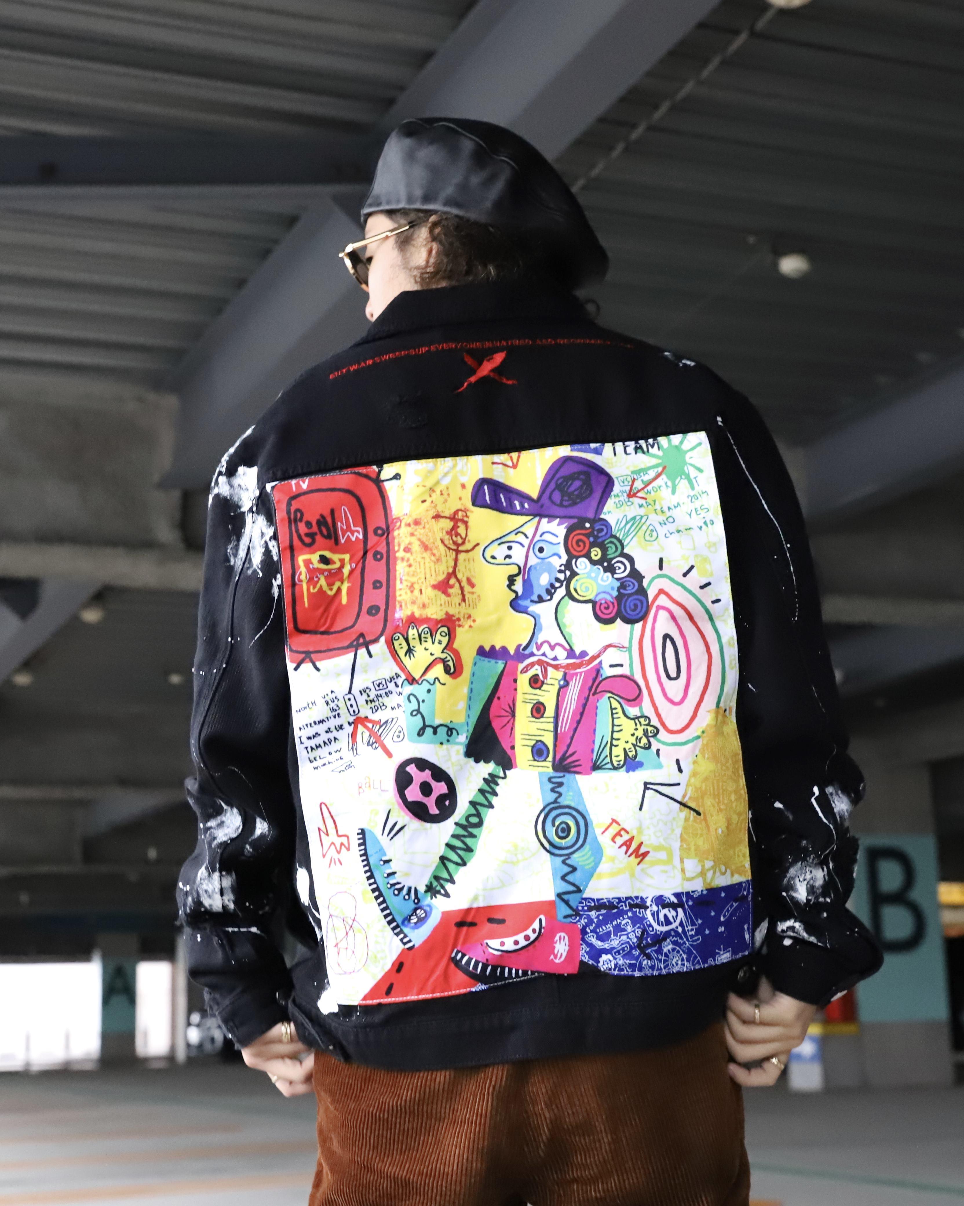 グラフィティバックブラックデニムジャケットの画像3